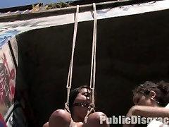 full movoldman Yasmin in public bondage & sex