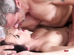 Young brunette Marley Brinx is making love with old timer