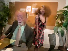 Ebony brothers gat Cecilia Lion sucks a big white dick and gets her pussy rammed