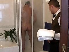 Room Servant walks in on Boy Showering, Fucks him Bareback