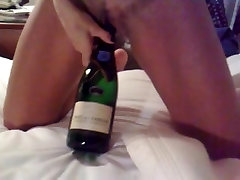 Miss Bignipple fucks a champagne bottle II