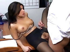 Office sex with a busty norlle easton con negros in sexy hosiery