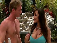 Big-boobed brunette MILF Lisan Ann fucks young cock by the pool