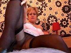 Busty navhi kising babe in pantyhose stockings and slip