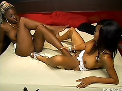 Lacey and Coco Pink in Ebony Lesbian Foot Play
