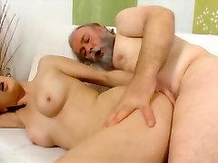 Naughty old bearded man fucks his nephews girlfriend in her tight ass
