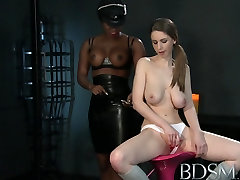 BDSM XXX Young Girl gets a shock from sexy lesbian Mistress