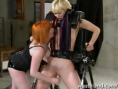 Ginger dominatrix plays with blondes hot famliy mom like a toy