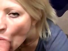 Exhibitionist slut Kirsten sucks and swallows in mall