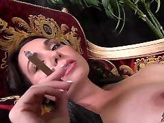 Busty MILF Brunette Cigar Smoking