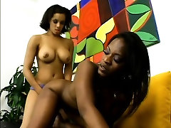 Buxom small afrique lesbians fuck each others pussies with a strap-on dildo