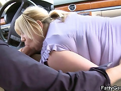 Sexy granny felt up gives head in the car then gets fucked