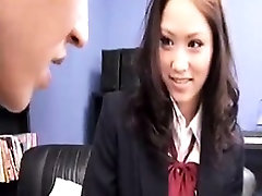 Beautiful Asian schoolgirl with a heavenly ass has a passio