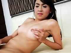 Ladyboy tgirl rubs cock
