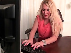 American milfs Shelby and Tracy stripping off at the office