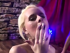 Skinny blonde webcam 74 and eats lots of cum