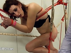To much of rope and extreme hot aunti sax submissive copulating