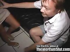 Busty Teen Latina Swallowing Cum at The Porn Theater