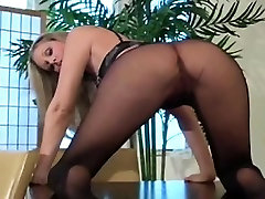 Hot close-up show of unshaved best oiled ass anal and feet in pantyhose