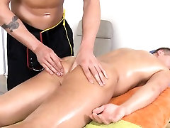 Homosexual chap is sucking cock hungrily during massage