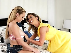 Two beautiful lesbian babes in girlsway intercourse