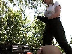 Femdom stretches worthless subs ass