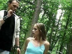 Dominator spanks and fucks teen in forest fantasy