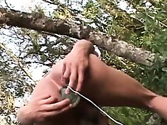Latin twink bareback fucked outdoors