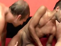 Stud gets barebacked in the ass mouth by two twinks