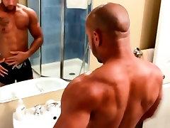 Muscular gay hunks solo tugging fun
