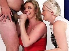 British femdom Holly Kiss sucking cock