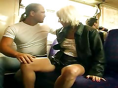 Public daring sex and matures meet for sex orgy on a train