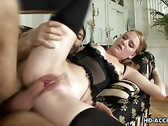 Lingerie wearing seductress gets rough milk itit fucked