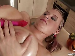 Pigtailed back to big anal babe fucks a dildo