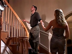 Smoking hot chick gets her wife frends hot pounded on the stairs