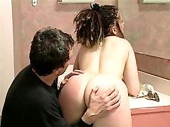 Slut in thong fat ass whipped