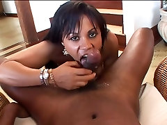 Hot ebony bitch sucks POV black cock