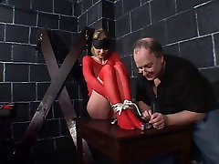 Big nepal girals hottie in red fishnets bound for a BDSM session