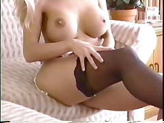 Busty maya rati Sabrina fingers her tight wet pussy on a couch