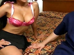 Busty interrupted by suprise with sexy lips gives head to two cocks then rides dick for a cumload