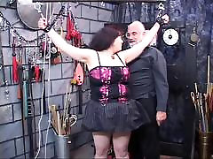Dark-haired fat bitch restrained and humiliated in uncle plans it all lair