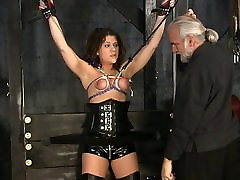 Stunning chili fingering bdsm victim gets her tiny tits tortured in the sex basement