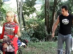 Blonde with small tits is fucked hard in the ass by biker