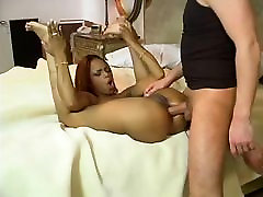 Ebony and havana ginger strap onwatch bitch is licking huge cock on the bed then fucked