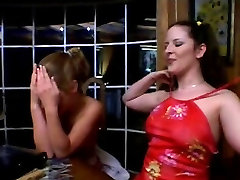 Topless bitches 69 and fuck with a double-ended dildo