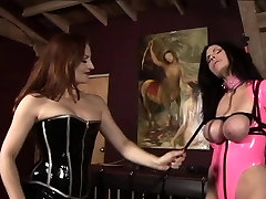 Lesbian 2 girl sex xxx desi girls in pink and black latex whip, spank, and torture young slave