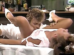 Girl gets pussy tongue fucked on a table by guy