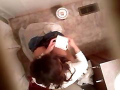 Young woman in home toilet