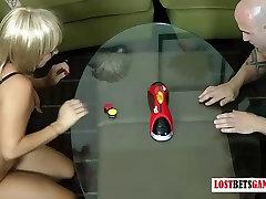 Two guys take on two girls in a kameez salwar mom village xxx of strip table hockey