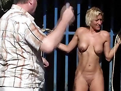 Outdoor whipping of blonde wife in hardcore public bdsm